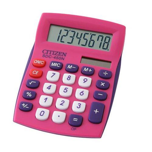 Citizen SDC-450NPK Color Pink Desktop Calculator Fixed Angled Display Office