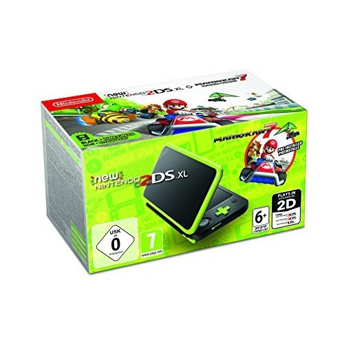 New Nintendo 2DS XL - Pre-installed with Mario Kart 7 (Black / Lime Green) (Nintendo 3DS) (UK Version) (New)