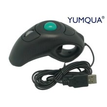 YUMQUA Y-10 Portable Finger Handheld 4D Wired USB Trackball Mouse for Left/ Right Handed Users(Black) Laptop Lovers