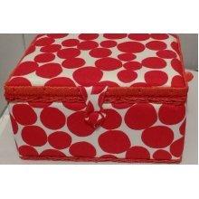 HobbyGift Medium Sewing basket - Red Spot - 26.5 x 19.5 x 14cm
