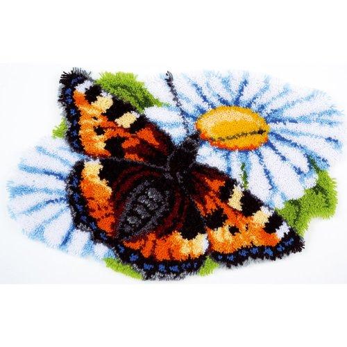 "Latch Hook Rug Kit""Butterfly on Daisy"" 70x45cm"