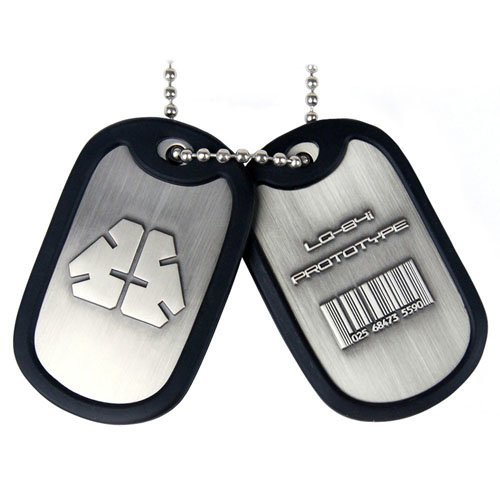 METAL GEAR SOLID Rising Dog Tags with LQ-84i Prototype Logo/Barcode and Rubber Rim (GE0455)