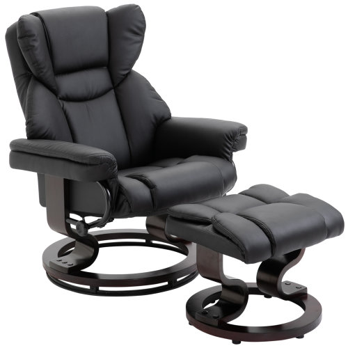 HOMCOM Padded PU Leather Manual Reclining Armchair Footstool Set Black