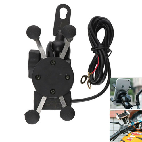 Universal Motorcycle Motorbike Mobile Phone Holder X Grip Clamp Mount USB Charge
