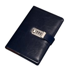 Creative Password Notebook With Lock Notebook Diary Business Notepad, Dark Blue