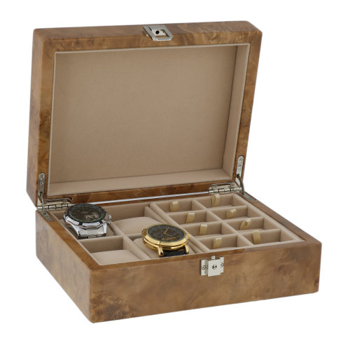 4 Watch Box and 16 p Cufflink in Light Burl Wood  Solid Lid by Aevitas