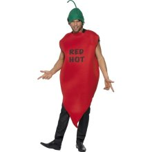 Smiffy's Adult Unisex Chilli Pepper Costume, Tunic And Hat, Funny Side, Serious -  costume chilli pepper red hot fancy dress smiffys stag party