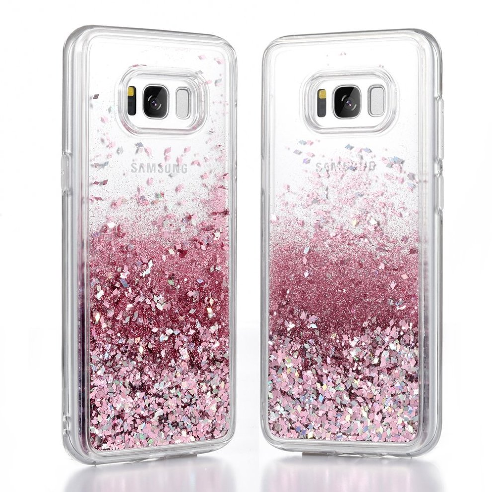 another chance d45d8 671dc Galaxy S8 Case, Wuloo Samsung S8 Bling Cover Glitter Fashion Creative  Design Flowing Liquid Floating Luxury Sparkle S8 Transparent Hard Cover  for...