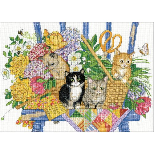 """Design Works Counted Cross Stitch Kit 12""""X16""""-Garden Kittens (14 Count)"""