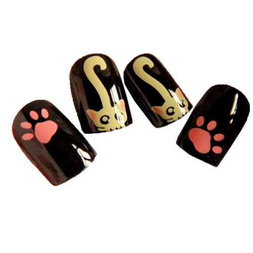 Stylish and Charming Pre-designed False Nails Art for Girls, Lovely Cat