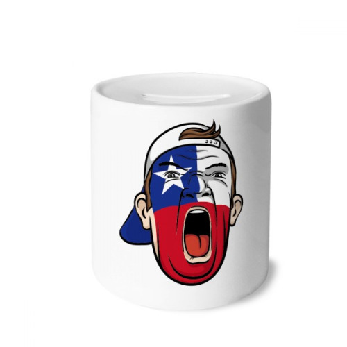 Chile Flag Facial Makeup Mask Screaming Cap Money Box Saving Banks Ceramic Coin Case Kids Adults