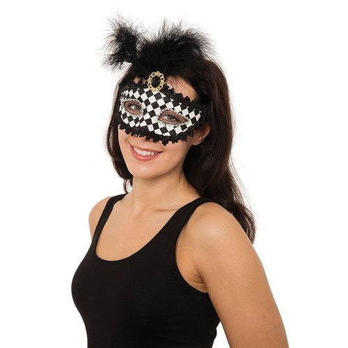 Harlequin Eye Mask With Tall Feathers -  harlequin fancy dress feather masquerade eyemask party wtall ladies black ball FANCY DRESS MASK MASQUERADE