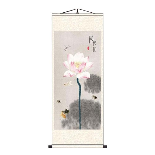 e06fe9db5 Chinese Scroll Painting Home Decor Silk Scroll Hanging Art Lotus Flower, 30  on OnBuy