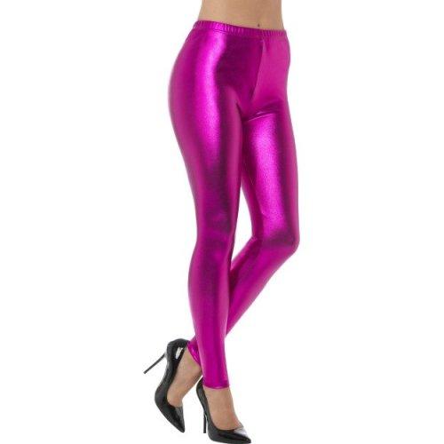 Smiffy's 48107m 80's Metallic Disco Legging (medium) -  ladies metallic leggings disco fancy dress costume 80s womens accessory pink