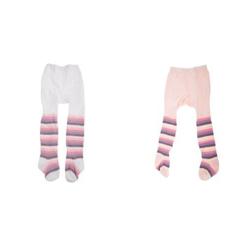 Baby Girls Pastel Stripe Tights With Elastane