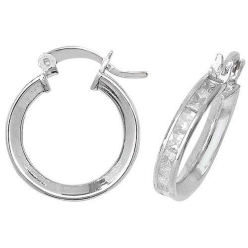 45a2fedb29c490 Sterling Silver 16MM Cubic Zirconia Hoop Earrings on OnBuy