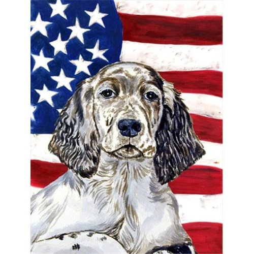 Carolines Treasures LH9022CHF 28 x 40 in. USA American Flag with English Setter House Size Canvas Flag