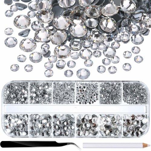 2000 Pieces Hot Fix Glass Flatback Rhinestones HotFix Round Crystal Gems 1.5-6 MM (SS4-SS30) in Storage Box with Tweezers and Picking Rhinestones...