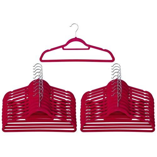 50 Pink Non Slip Velvet Hangers With Tie Belt Scarf Holder