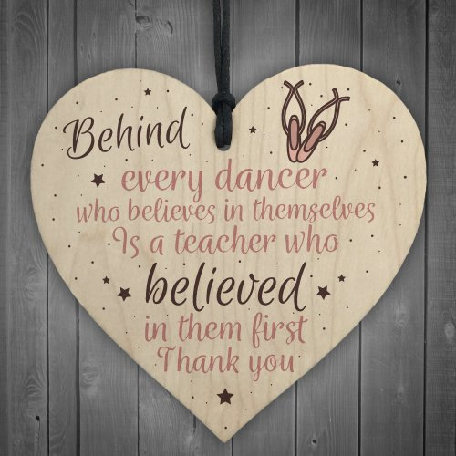 RED OCEAN Thank You Dance Teacher Gift Wooden Heart Special Goodbye Gifts For Her Friendship Sign