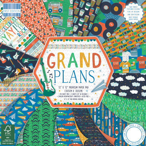"First Edition Premium Paper Pad 12""X12"" 48/Pkg-Grand Plans, 16 Designs/3 Each"