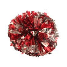 2 Of Metallic Foil & Plastic Ring Pom Poms Cheerleading Poms RED+SILVER
