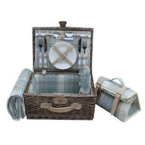 2 Person Cream Tartan Fitted Picnic Basket