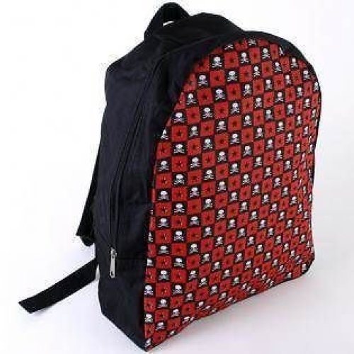Checked Skull And Star Backpack Rucksack Bag Black School Work College