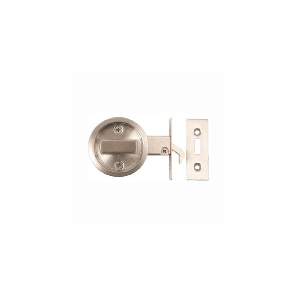 Sliding Bathroom Door Lock Toilet Privacy Round Coin Release Satin Stainless