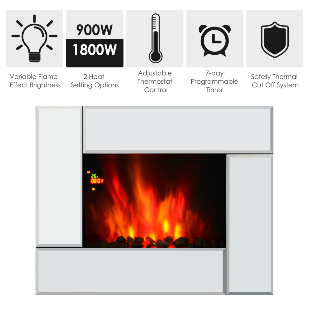 Superb Homcom 1800W Wall Mounted Electric Fireplace Heater 7 Coloured Led Lighting Fire Glass Screen With Pebble Effect Remote Control Download Free Architecture Designs Griteanizatbritishbridgeorg