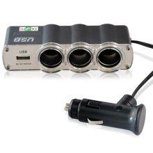 LUPO Triple Car Charger - 12v Cigarette Lighter Adapter + 1 USB Multi Socket