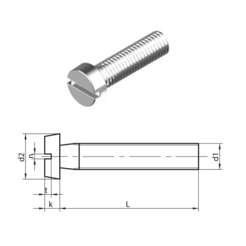 M4 x 18 mm Slotted Cheese head machine Screws (DIN 84) T304 (A2) Stainless Steel