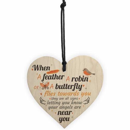 RED OCEAN Angels Are Near Memorial Bereavement Wooden Heart Sign Mum Dad Nan Grandad Special Plaque Gifts Robin