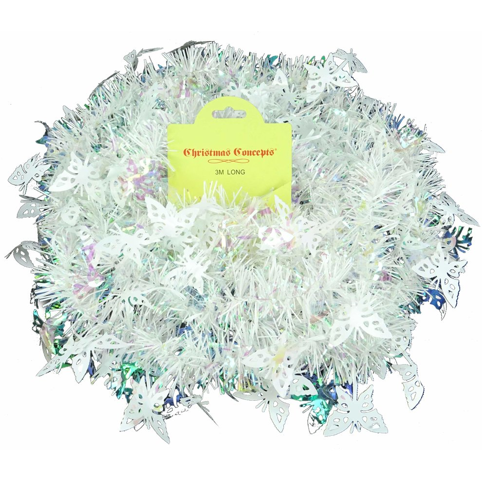 Christmas Concepts® 3m White Tinsel With Butterflies - Christmas Decorations on OnBuy