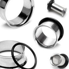 Urban Male Pack of Three Stainless Steel Ear Stretching Flesh Tunnels Single Flared