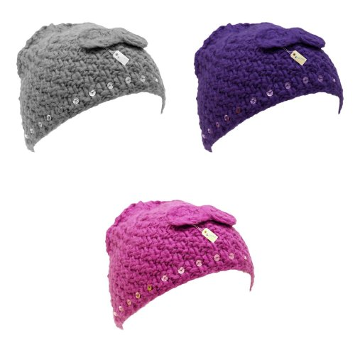 Childrens/Kids Girls Winter Beanie Hat With Sequins