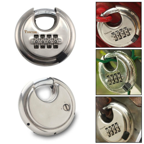 4 Digit Combination 70mm Disc Lock Padlock - Hardened Stainless Steel