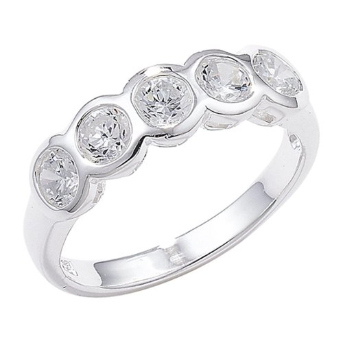 Sterling Silver Rubover Set Cubic Zirconia Ring - Size R