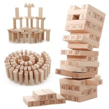 54 Piece Wooden Stacking Set With Dice Game
