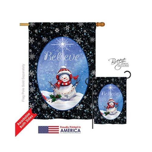 Breeze Decor 14118 Christmas Believe 2-Sided Vertical Impression House Flag - 28 x 40 in.