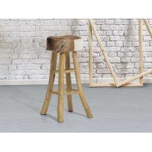 Stool - Hocker- Counter chair - Brown - Teak - Lamb leather - WALTON