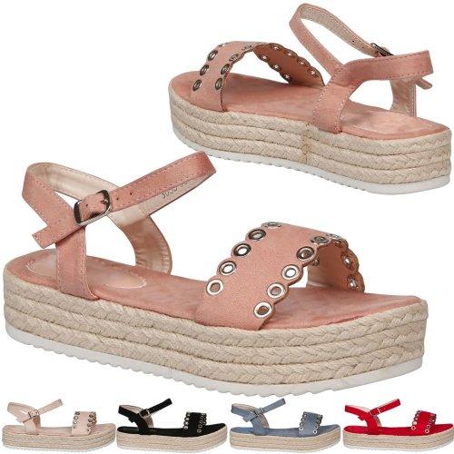 Perrie Womens Low Heel Flatform Eyelet Detail Espadrille Sandals