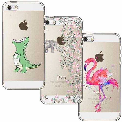 new concept 7b420 be285 [3 Pack] iPhone 5 Case, iPhone 5S Case, iPhone SE Case, Shumeifang® Ultra  Thin Soft Gel TPU Silicone Case Cover with Cute Cartoon for Apple iPhone...