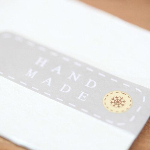 24pk Luck & Luck Grey 'Handmade' Button Mini Sticker Sheet 24