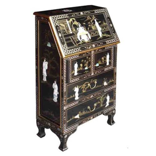 Chinese Black Lacquer Bureau - Lacquer Mother of Pearl Furniture