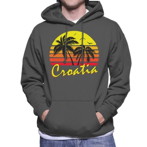 Croatia Vintage Sun Men's Hooded Sweatshirt