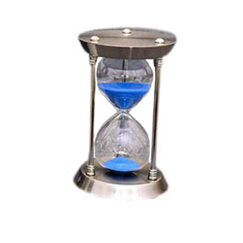 Simple Metal Sand Timer Hourglass Sandglass Creative Ornament Gifts, 15 Minutes + Silver Blue