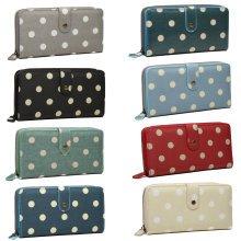Miss Lulu Women Purse Wallet Polka Dots Oilcloth Clutch Hand Bag