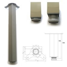 3 x 710mm Aluminium Breakfast Bar Worktop Support Table Leg Square 65mm Diameter