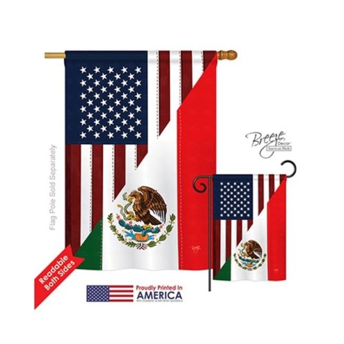 Breeze Decor 08205 US Mexico Friendship 2-Sided Vertical Impression House Flag - 28 x 40 in.